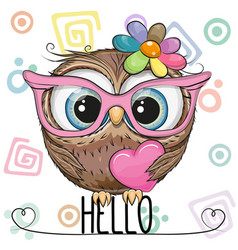 Cute owl in a pink glasses with heart vector