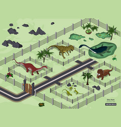 dinosaur park in isometric style jurassic museum vector image