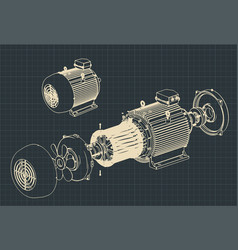Disassembled electric motor blueprints vector