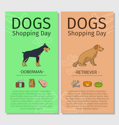 Doberman and retriever dog shopping day vector