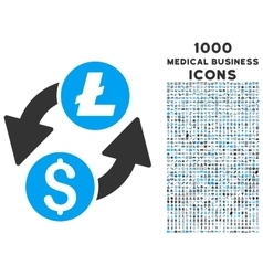 Dollar Litecoin Exchange Icon with 1000 Medical vector image