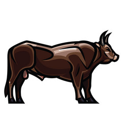 draving - powerful horned bull vector image