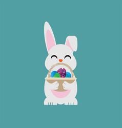 easter egg bunny holding a basket vector image