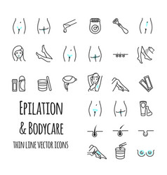 epilation and bodycare thin line icons set vector image