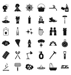 flame icons set simle style vector image