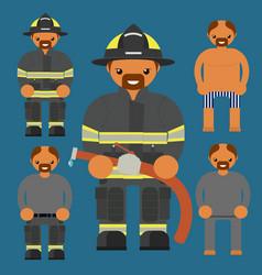 flat firefighter character fireman kit uniform vector image
