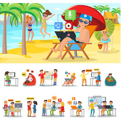 freelance in warm countries concept vector image