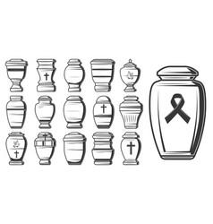 funeral cremation urns columbarium jars or vases vector image