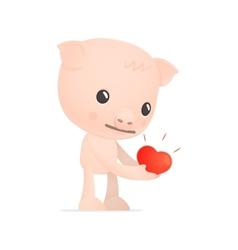 funny cartoon pig vector image