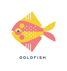 goldfish sea fish geometric flat style design vector image