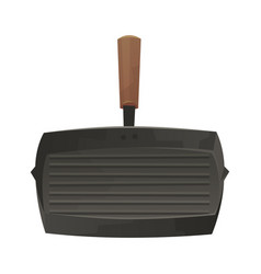 Grill pan isolated on white background in cartoon vector