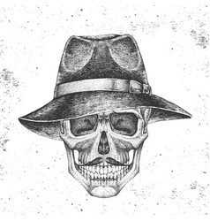 hand drawing hipster skull with hat vector image