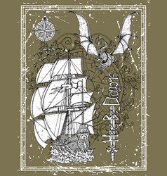 hand drawn ancient sailing vessel dragon sword vector image