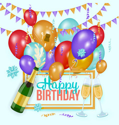 Happy birthday greeting card template champagne vector