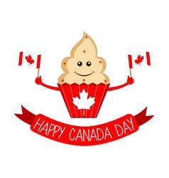 happy cute cupcake canada day vector image