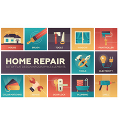 Home repair - modern flat design icons set vector