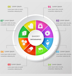 Infographic design template with bakery icons vector