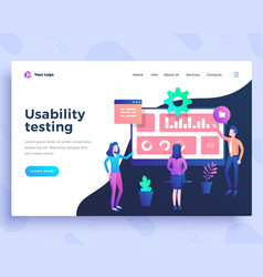 landing page template ui usability testing concept vector image