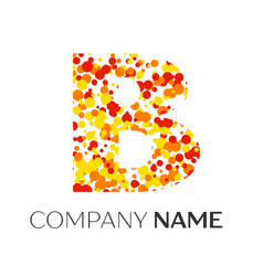 Letter b logo with orange yellow red particles vector