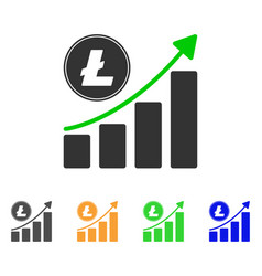 litecoin growing chart trend icon vector image