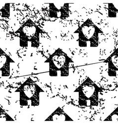 Love house pattern grunge monochrome vector