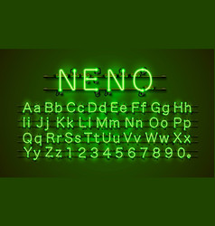 neon font city neon green font lamp green font vector image