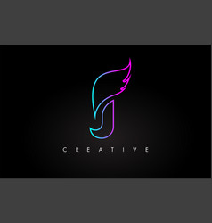 Neon j letter logo icon design with creative wing vector