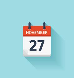 November 27 flat daily calendar icon vector image