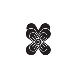 pansy black concept icon pansy flat vector image