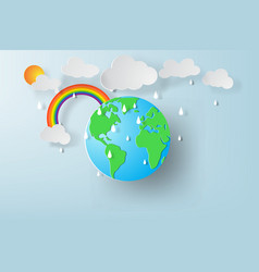 paper art of world environment day with rainy vector image