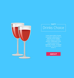 party drinks choice web poster glasses red wine vector image