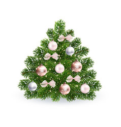 Realistic christmas green tree with rose gold toys vector