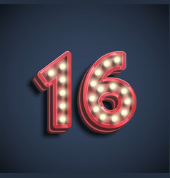 Realistic number character with lamps vector