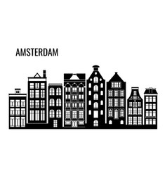 row of old typical amsterdam houses vector image