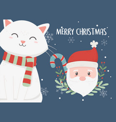 santa and cat candy cane merry christmas card vector image