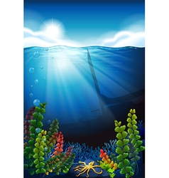 Scene with blue sea and underwater vector