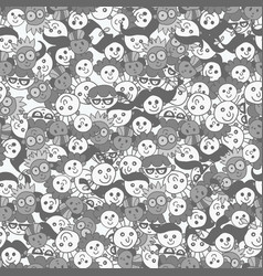 seamless pattern with cute faces of children vector image