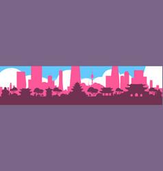 seoul silhouette skyline south korea city view vector image