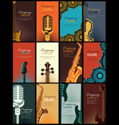 Set of business cards with musical instruments vector