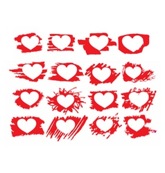 Set of symbol brush paint hearts vector