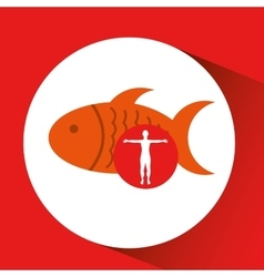 Silhouette man fish food design vector