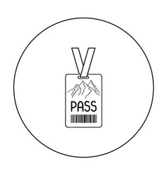 Ski pass icon in outline style isolated on white vector