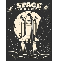 Space Journey Monochrome Print vector