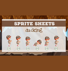 Sprite sheets ducking template vector
