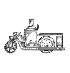 steam engine road roller tractor engraving vector image
