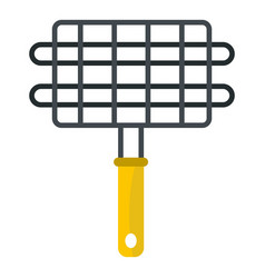 Steel grid for grill icon isolated vector