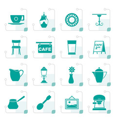 Stylized cafe and coffeehouse icons vector