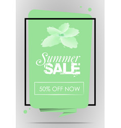 summer sale with frame and flower in green color vector image
