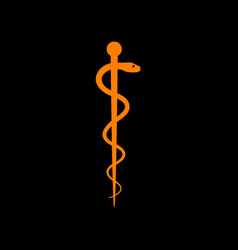 Symbol of the medicine orange icon on black vector
