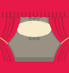 Theater scene with red curtains and board for text vector